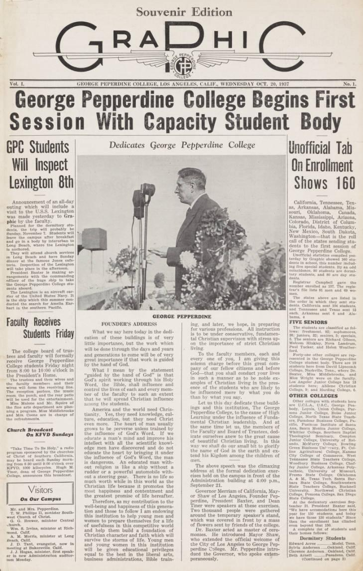 The front page of the Graphic's first edition, published Oct. 1937, covers the launch of George Pepperdine College's first semester. The Graphic is Pepperdine University's oldest student organization and has evolved since then, while staying true to its original mission to inform the Pepperdine community. Photo courtesy of Pepperdine Libraries Special Collections and University Archives