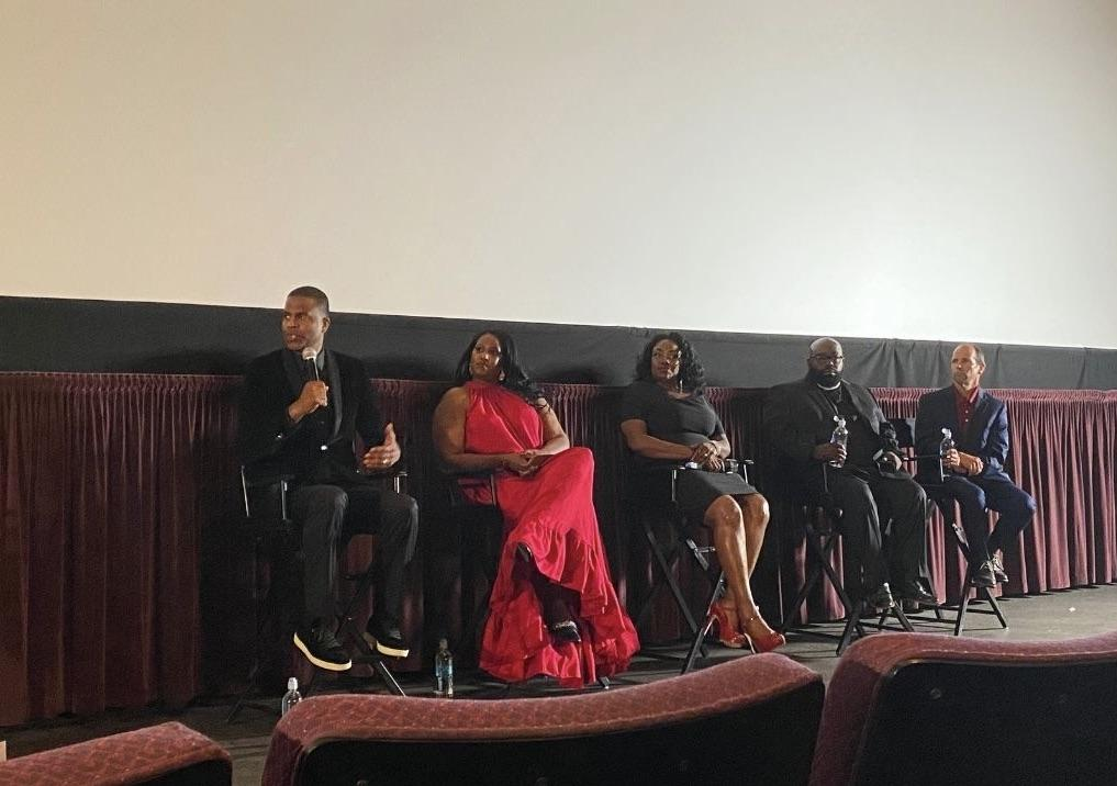 Supreme, Salaberrios, Price, Rose Simmons, and John Shepherd — left to right — answer questions after the screening of the film. Supreme is from New York and was a founding partner and pastor of Infinity Bible Church in the South Bronx, N.Y.