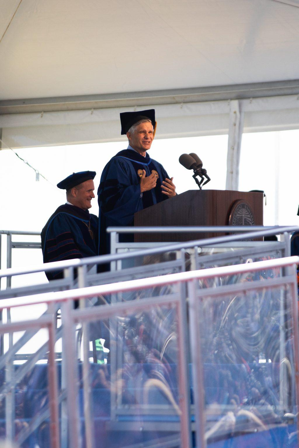 Commencement speaker Brett Biggs, executive Vice President and chief financial officer of Walmart, addresses the Class of 2021. Photo by Ryan Brinkman