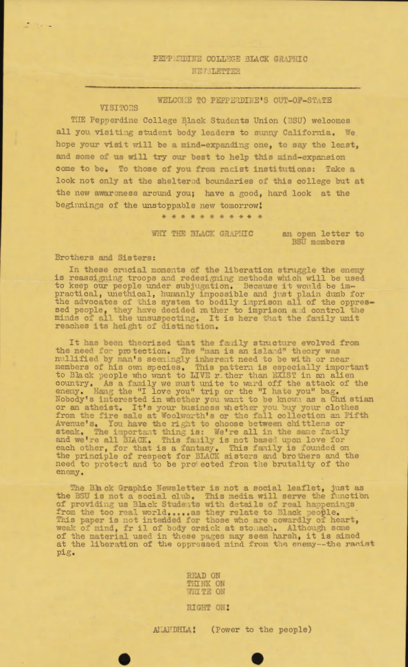 The Black Graphic publishes a newsletter in 1969 that contains an open letter to the Black Student Union about the purpose of the student publication. The Black Graphic published its first edition Nov. 25, 1968. Photo courtesy of Pepperdine Libraries Special Collections and University Archives