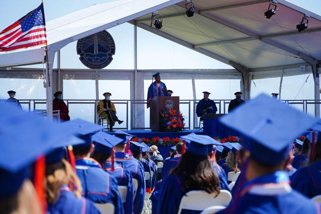 Graduate Payton Silket addresses the Class of 2020. The 2020 commencement ceremony honored various student speakers, including Silket.