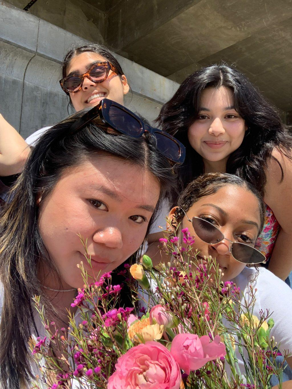 Alpha Omega first-years — (left to right) Serena Woon, Marie McGrath, Yamillah Hurtado, who is a copy editor for the Graphic, and Amani Pearson — have a beach day on Amarillo Beach in Malibu in April. Woon said they tanned at the beach, and it was one of the best days ever.
