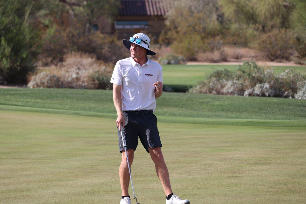 Pepperdine junior Joe Highsmith pumps his first on the 15th green during Wednesday's national championship match against Oklahoma. Highsmith defeated Oklahoma's Garett Reband 4-and-3.