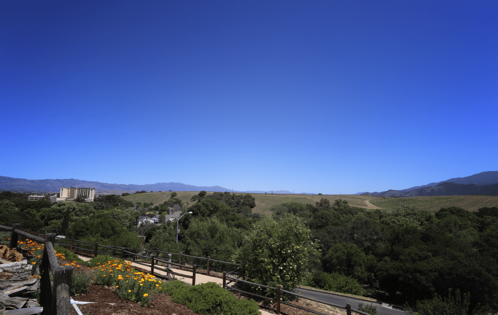 The Santa Ynez Reservation sits in the valley, overlooking the Chumash Casino Resort, the Santa Ynez Mountains and the Zanja de Cota Creek nestled between the trees April 28. The Santa Ynez Band of Samala Chumash Indians established the reservation in 1901.