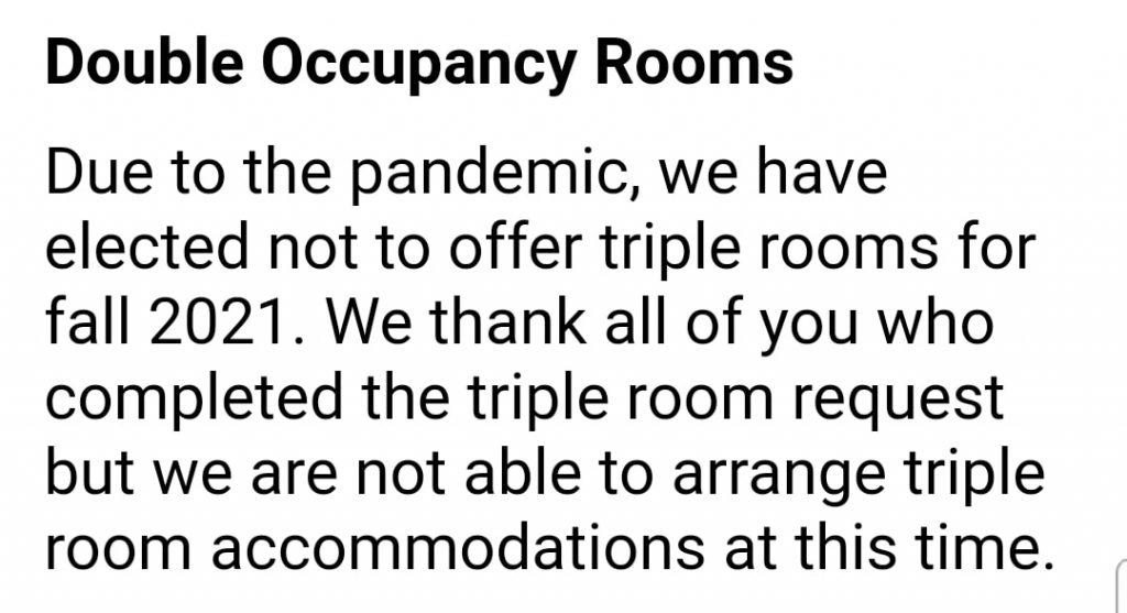 A screenshot of an HRL email sent to first-year students and parents regarding occupancy numbers for the fall. Pepperdine considered triple-bunking students to accommodate for the large incoming class but decided against it due to a lack of interest and COVID-19 concerns. Screenshot courtesy of the Class of 2025 Parents Facebook group