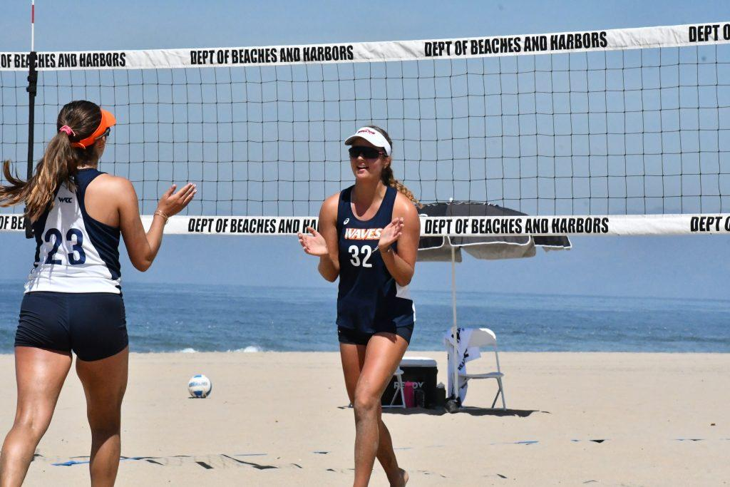 Kristine Briede plays a game on the Pepperdine Women's Beach Volleyball team. Briede moved to Malibu to practice with the team in 2021 but had restrictions relating to campus life due to COVID. Photo courtesy of Kristine Briede