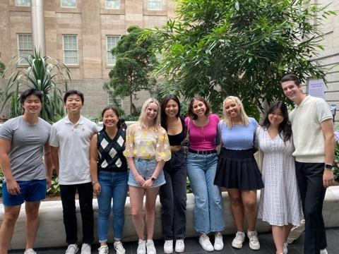 Students stand outside the National Program Gallery during a visit July 3. Nascimento said the return to in-person education has prepared her for the return to campus in the fall. Photo courtesy of Talia Nascimento