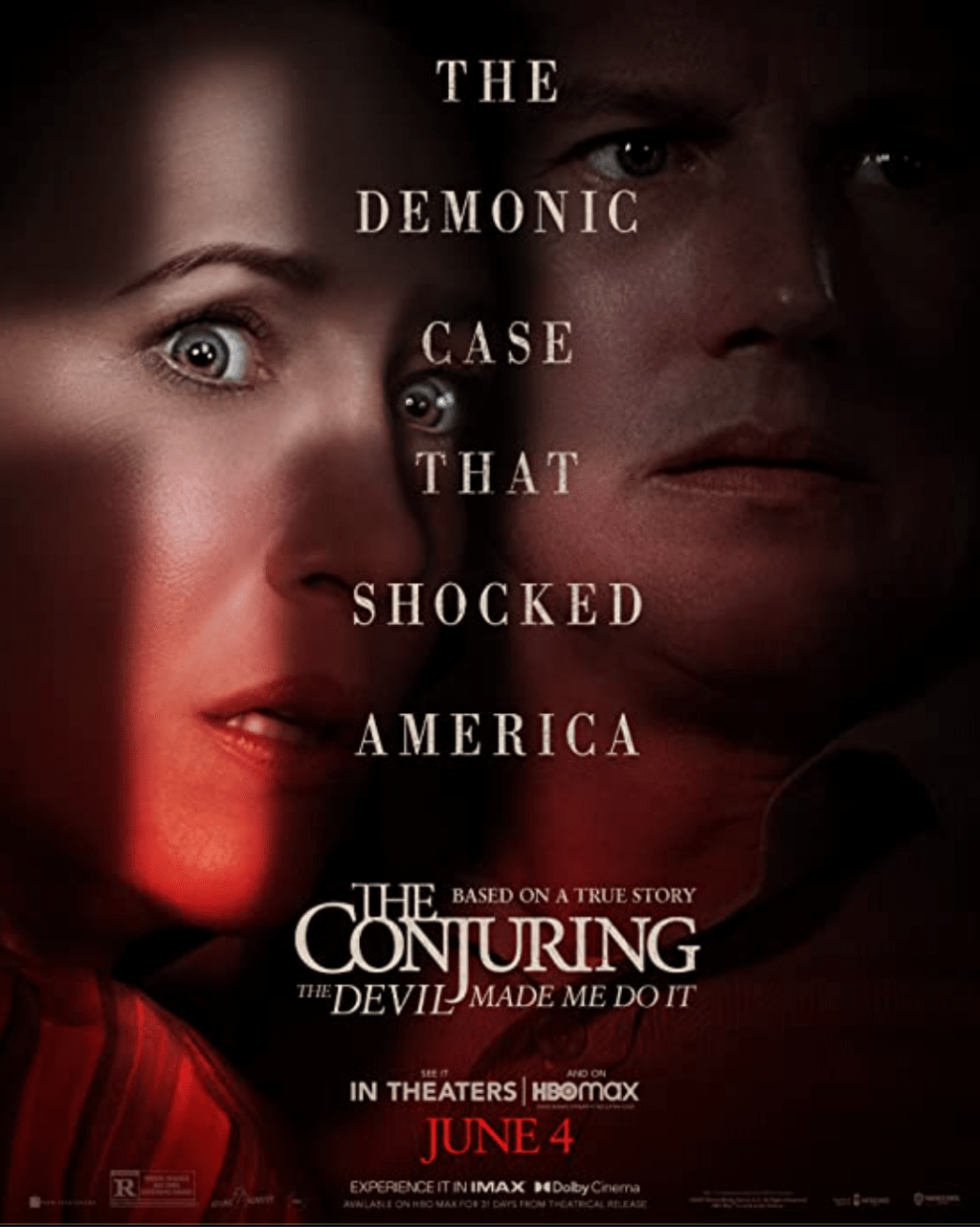 """The official poster for """"The Conjuring: The Devil Made Me Do It"""" shows Patrick Wilson and Vera Farmiga as Ed and Lorraine Warren, the stars of the franchise. As indicated by the poster, the events in the film were loosely based on a case of demonic possession recorded by the actual Warrens. Photo Courtesy of Warner Bros. Pictures"""