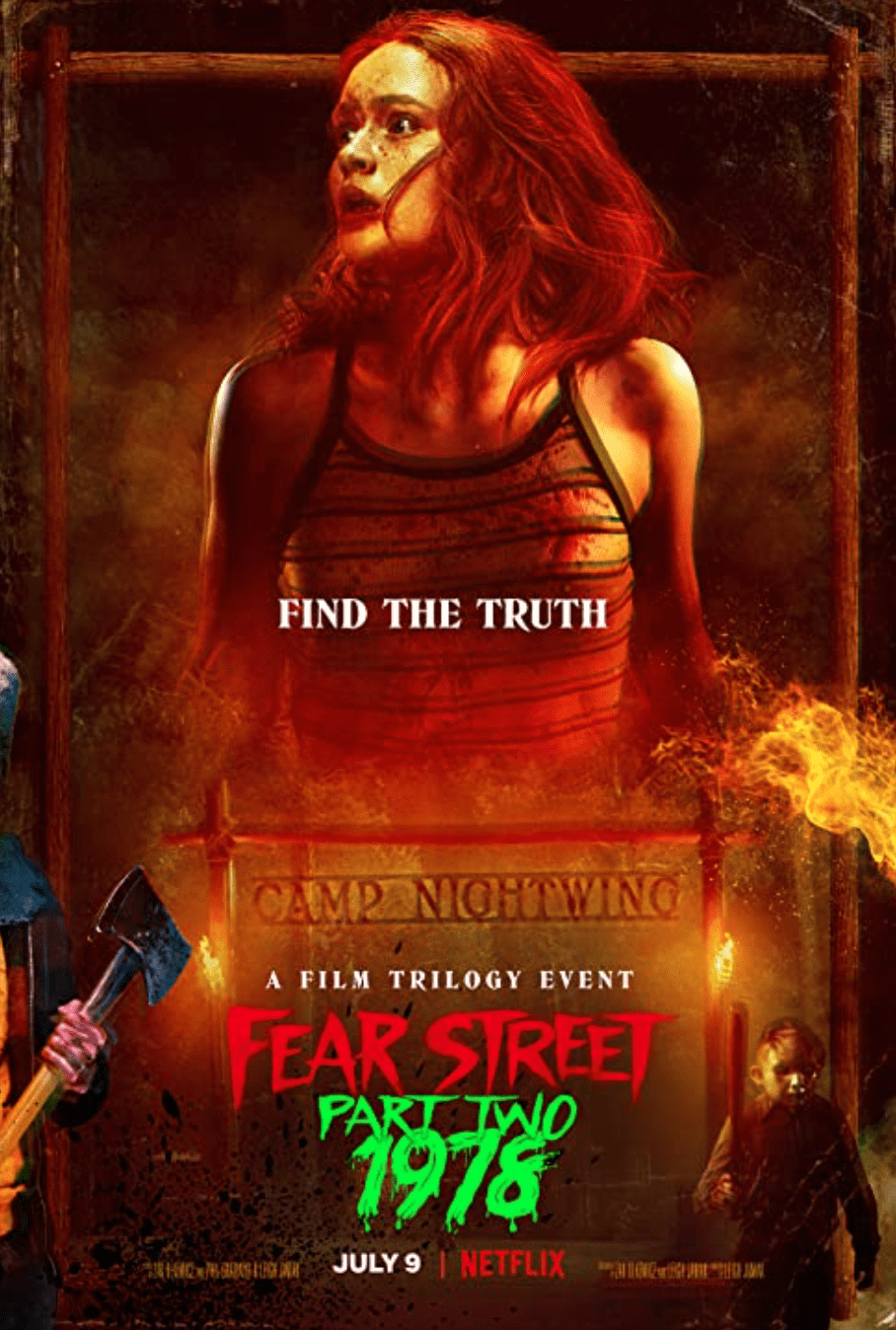 """The second installment of the """"Fear Street"""" trilogy, starring Sadie Sink, is a slasher film set at a summer camp in 1978 called """"Camp Nightwing,"""" a clear homage to """"Friday the 13th."""" The obvious evocation of a horror classic, along with eerie similarities to """"Stranger Things"""" show how the trilogy took inspiration from earlier works. Photo Courtesy of Netflix"""