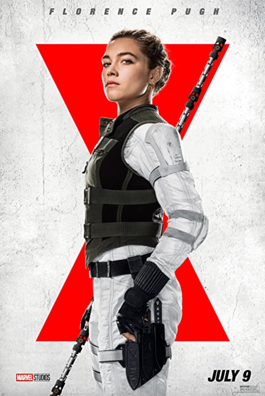 """A promotional poster shows Florence Pugh as Yelena Belova wearing her own unique Widow suit. The dynamic between Johansson and Pugh was the most compelling aspect of """"Black Widow,"""" bolstered by a great performance from up-and-comer Pugh. Photo Courtesy of Marvel Studios"""
