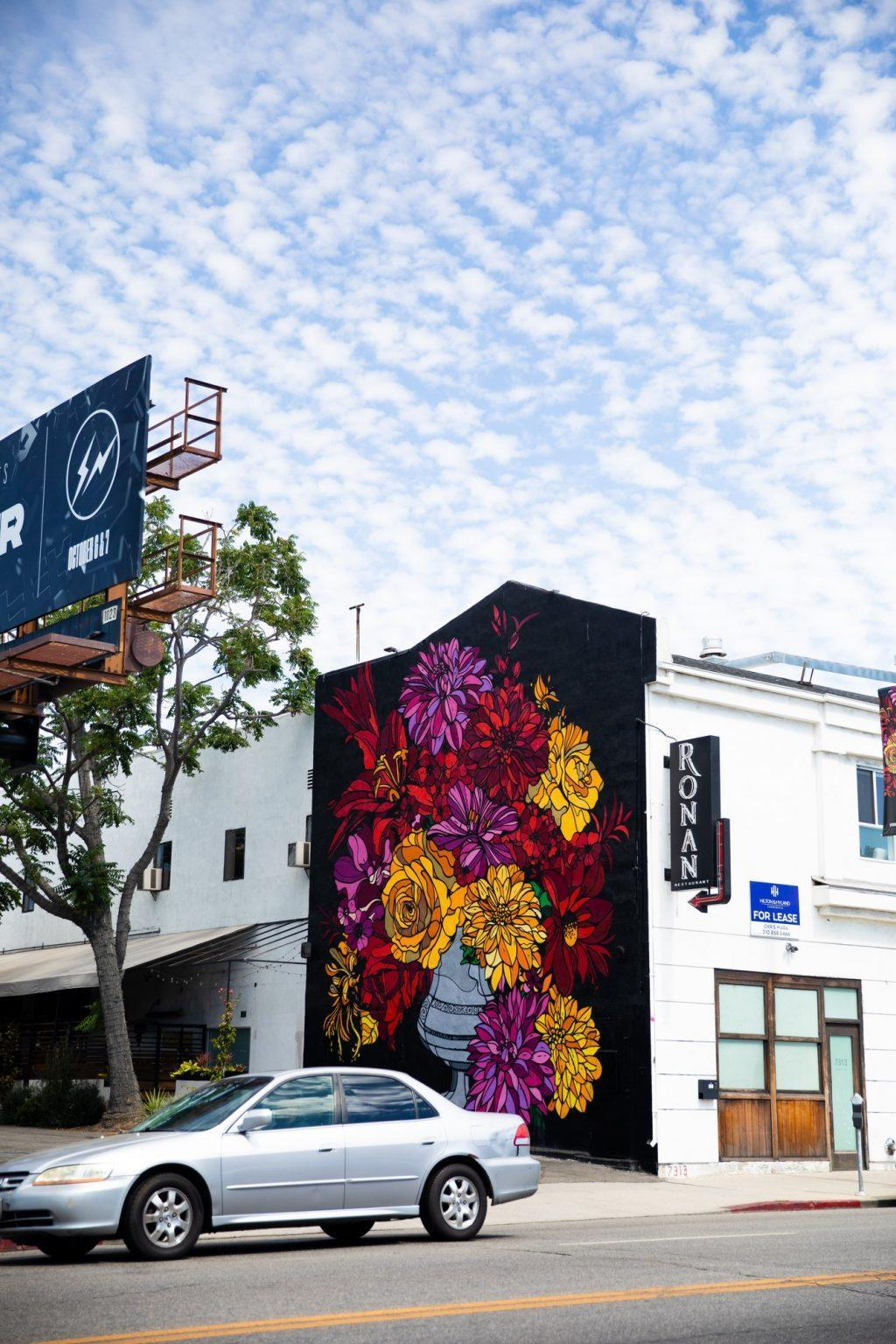 A vibrant floral mural catches the eye of people passing by Melrose Avenue. The painting brought a positive feeling to me as I walked by.