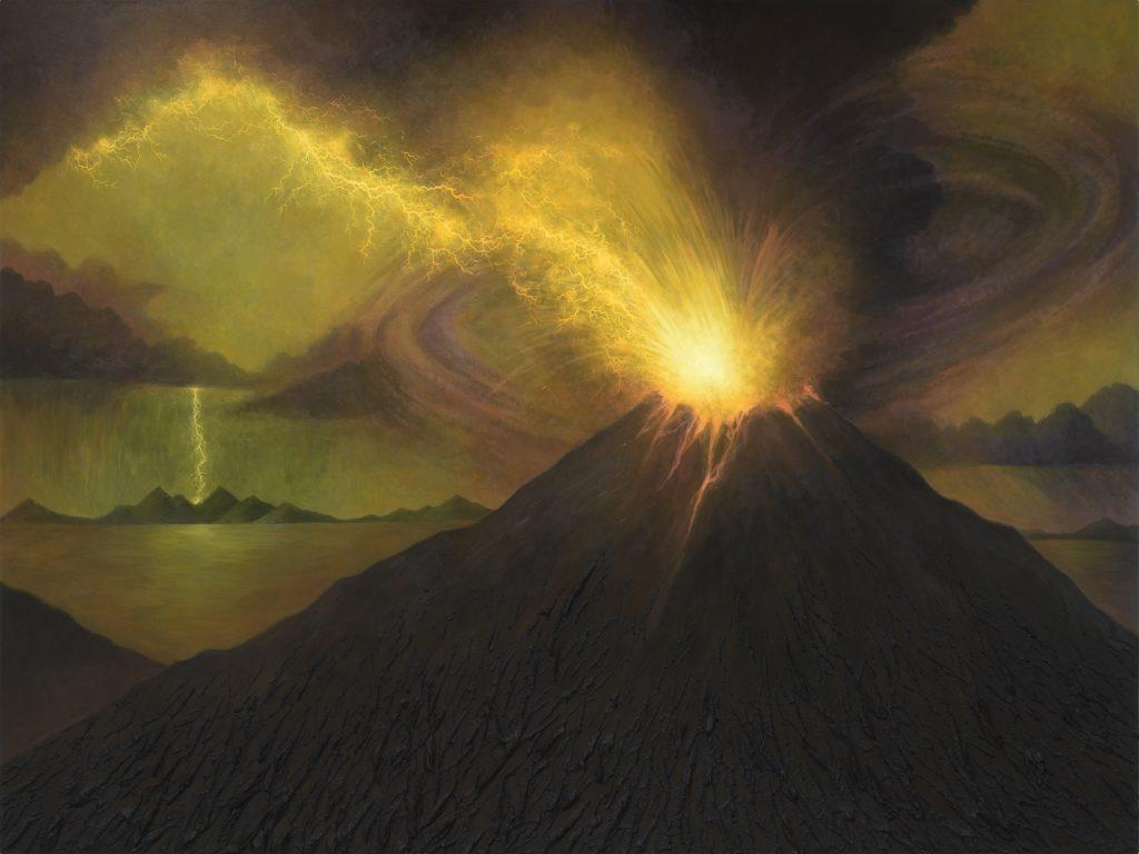 """A volcano erupts as a storm strikes land in the background in a photo of Kelly Berg&squot;s """"Ring of Fire,"""" distributed as part of the Weisman's press release about the exhibit. This piece illustrates the dynamic power of nature, and is currently on exhibit in """"Environmental Reflections.""""  Art by Kelly Berg"""