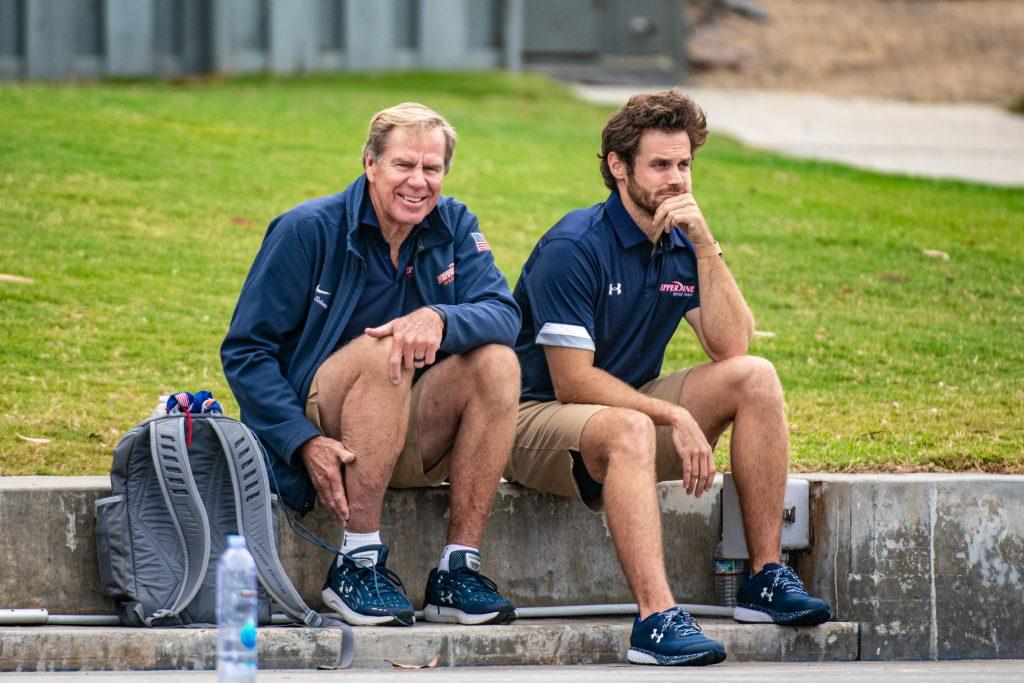 Pepperdine Head Coach Terry Schroeder and athletic trainer A.J. Vander Vorste share a smile during the Triton Invitational. Schroeder began his 29th season at the helm of the program this year.