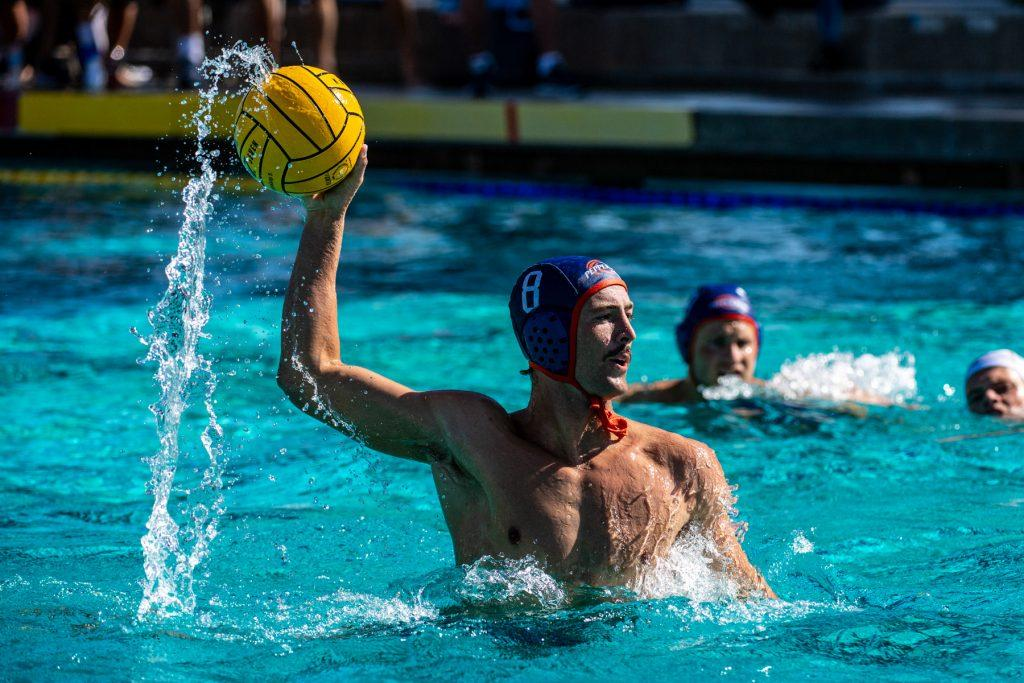 Pepperdine senior attacker Sean Ferrari rises out of the pool to attempt a shot Sept. 4 in a match against Cal Baptist in La Jolla, Calif. Ferrari scored ten goals for the Waves in the opening tournament.