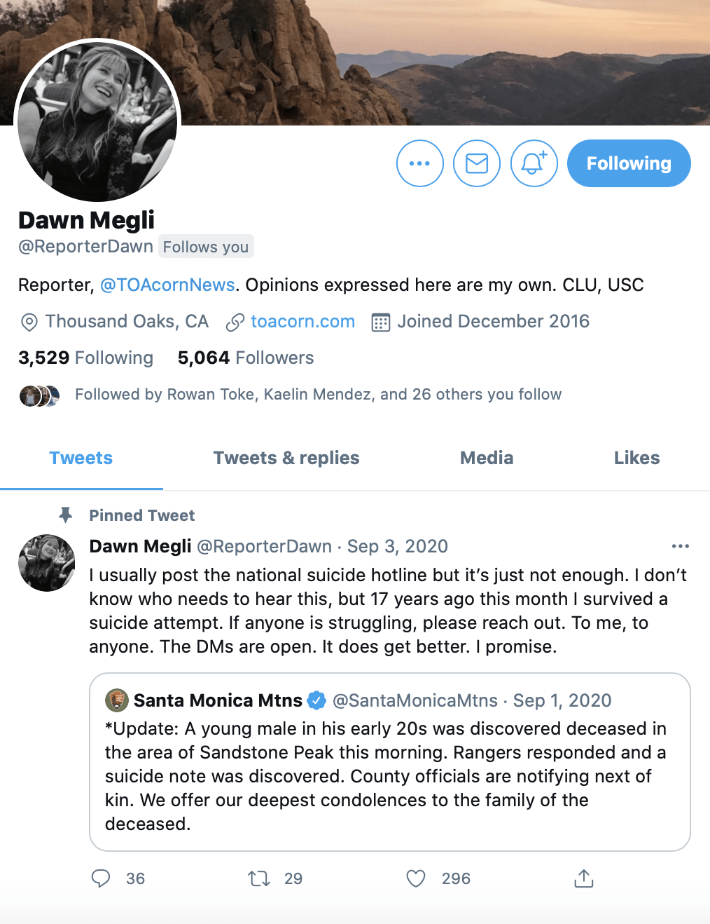 Dawn Megli, a reporter at the Thousand Oaks Acorn, utilizes social media to share her life experiences with her audience. She said this helps readers feel more comfortable trusting her with their stories. Photo courtesy of Twitter