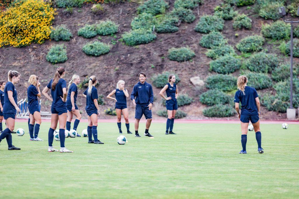 Pepperdine Women's Soccer players line up for a drill during an early morning practice Wednesday, Sept. 1. Multiple players said the intense training has been a major factor in the team's 5-1-0 start.