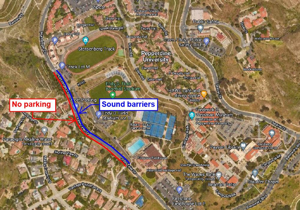 A map from Pepperdine Public Relations details parking restrictions and sound barrier wall lining John Tyler Drive. The sound barriers will remain in place and limit parking in the area until the project is complete, according to a June 25 PR email. Photo courtesy of Pepperdine