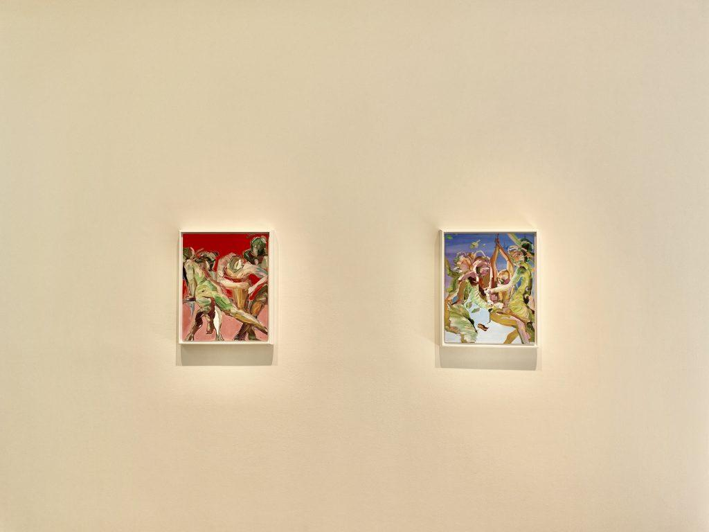 """Silhouettes move into the space of the others amid empty color in Gellis&squot; """"Study for Kudzu"""" (left) and chaos in """"Study for Samadi"""" (right). The two small pieces were placed in the walkway that transitioned the exhibition from calm to chaos, demonstrating the small shift in tone from one area to the next."""