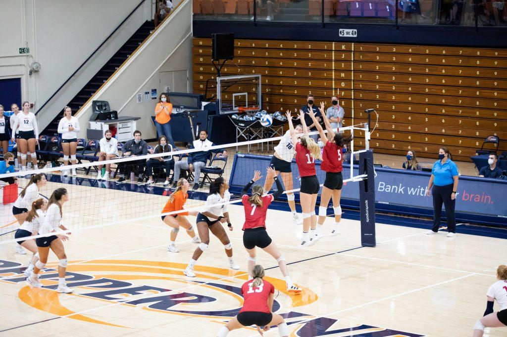 Senior outside hitter Rachel Ahrens delivers a striking blow to LMU's defense. Ahrens continued her stellar play this season, ending the match with 18 kills.